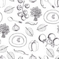 Tomato soup with basil seamless pattern hand drawing sketch Royalty Free Stock Images
