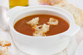 Tomato soup with bread in white bowl Royalty Free Stock Photo