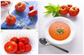 Tomato soup collage Stock Images