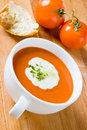 Tomato soup with cream and cress Stock Photo