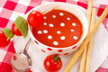Tomato soup with cream drops Royalty Free Stock Images