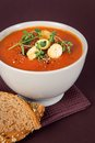 Tomato soup with croutons and herbs delicious gourmet fresh pepper bread oregano tomatoes on the side Royalty Free Stock Photography