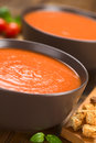 Tomato soup fresh homemade in brown bowls on dark wood with wholegrain croutons on the side selective focus focus one third into Stock Images