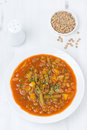 Tomato soup with green lentils and vegetables top view vertical Stock Images
