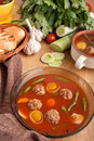 Tomato soup with meatballs Royalty Free Stock Photos