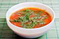 Tomato soup with parsley Stock Photos