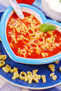 Tomato soup with pasta for child Royalty Free Stock Photo