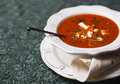 Tomato soup with pita tasty stock image Royalty Free Stock Photography