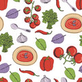 Tomato soup seamless pattern kitchen Stock Photo
