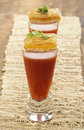 Tomato soup shooter with grilled cheese appetizers shooters mini Royalty Free Stock Image
