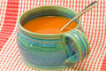 Tomato soup in soup mug Royalty Free Stock Photo