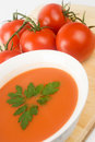 Tomato Soup with Vine Ripe Tomatoes Royalty Free Stock Photo