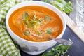 Tomato soup in white bowl Royalty Free Stock Photo