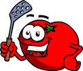 Tomato with a spatula cartoon style illustrated vector format is available Stock Image
