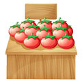 A tomato stand with an empty wooden signboard illustration of on white background Royalty Free Stock Photos