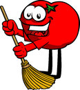 Tomato sweeping with broom