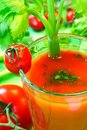 Tomato vegetable cocktail with celery sticks Stock Photos