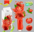 Tomato vegetables. Splash of juice. 3d vector, package design set