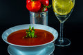 Tomato vegetarian soup with metal tin, fresh tomatoes, water wit Royalty Free Stock Photo