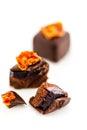 Tomatoe basil truffle gourmet sweet on a white background Stock Images