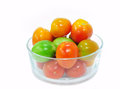 Tomatoes in a bowl Stock Images