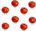 Tomatoes cartoon with different emotions isolated on white background Stock Images