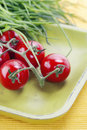 Tomatoes and chives Royalty Free Stock Image