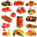 Tomatoes collection on a white background Royalty Free Stock Photo