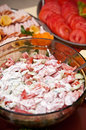 Tomatoes with cream salad in bowl Royalty Free Stock Photo