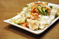 Tomatoes and cucmbers salad with shrimp Royalty Free Stock Image