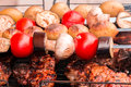 Tomatoes,eggplant,mushrooms,baked potatoes in the coals kebabs, souvlaki and grilled meat on a grill, entrecote, steak, Royalty Free Stock Photo