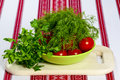 Tomatoes and fresh herbs ripe in green bowl on cutting board Stock Image