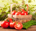 Tomatoes and green onions in a basket Stock Photo