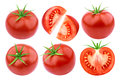 Tomatoes isolated. Fresh cut tomato set isolated on white background with clipping path Royalty Free Stock Photo