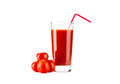 Tomatoes juice with drinking straw and group from on white Stock Photos