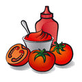 Tomatoes and ketchup illustration of Royalty Free Stock Image