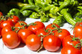 Tomatoes in market an green peppers a majorca balearic islands spain september Stock Image