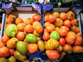 Organic tomatoes in market into fruit crates Royalty Free Stock Photo