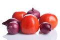 Tomatoes and onions Royalty Free Stock Photography