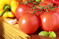 Tomatoes and other ingredients fresh spaghetti Stock Image
