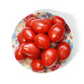 Tomatoes on plate fresh cherry isolated white background Stock Photography