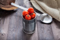 Tomatoes in a preserve tin Royalty Free Stock Photo