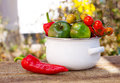 Tomatoes and red pepper in the white bowl with on old wooden table Stock Image