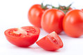 Tomatoes ripe on a white background Royalty Free Stock Photos