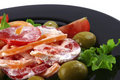 Tomatoes salad and olives Royalty Free Stock Photo
