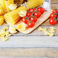 Tomatoes spaghetti and other pasta food closeup Royalty Free Stock Image