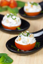 Tomatoes stuffed with cream cheese Royalty Free Stock Photo