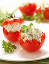 Tomatoes Stuffed with Feta Royalty Free Stock Photos