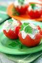 Tomatoes Stuffed with Feta Royalty Free Stock Images