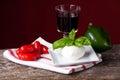 Tomatos and mozzarella basil wine Stock Images